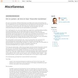 Miscellaneous: Om te janken: de UvA en haar financiële wanbeheer