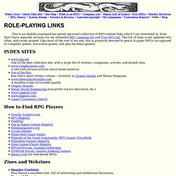 Miscellaneous Role-playing Game Links