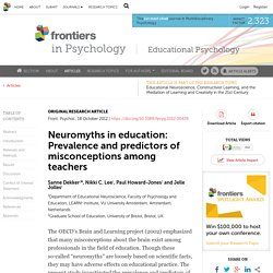Neuromyths in Education: Prevalence and Predictors of Misconceptions among Teachers