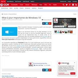 Mise à jour importante de Windows 10