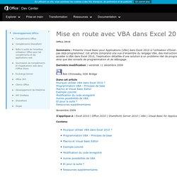 Mise en route avec VBA dans Excel2010