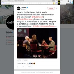 """De Balie on Twitter: """"How to deal with our digital media enviroment which includes misinformation and fake news? @BuzzFeed's @CraigSilverman gives us two valuable insights: 1. Awareness is your best weapon 2. Emotional scepticism. Watch the whole programm"""