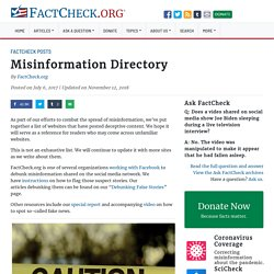 Misinformation Directory