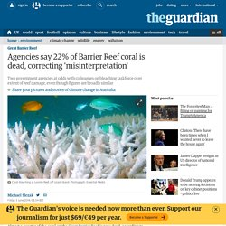 Agencies say 22% of Barrier Reef coral is dead, correcting 'misinterpretation'