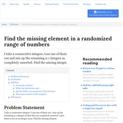 Find the missing element in a randomized range of numbers - Amin Ariana