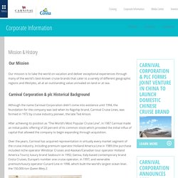 Mission & History - Carnival Corporation