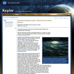 Kepler Mission Manager Update – 503 New Planet Candidates