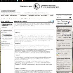L'examen de la gestion / Ses missions / Midi-Pyrénées / Chambres régionales des comptes (CRC) / Nos activités