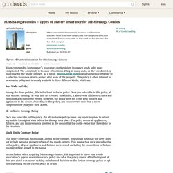 Mississauga Condos - Types of Master Insurance for Mississauga Condos by Condo Royalty