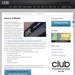 Healthy Lifestyle Mississauga, Become a Member- Club Meadowvale