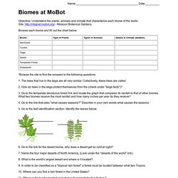 Biomes at Missouri Botanical Gardens Worksheet