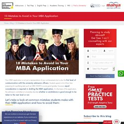 10 Mistakes to Avoid in Your MBA Application