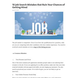 10 Job Search Mistakes that Ruin Your Chances of Getting Hired