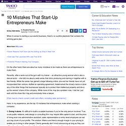 mistakes-of-startup-entrepreneurs: Personal Finance News from Yahoo! Finance