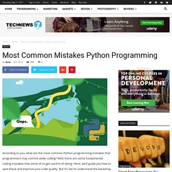 Most Common Mistakes Python Programming - Learn Startup