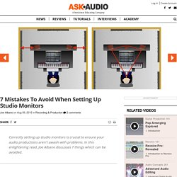 7 Mistakes To Avoid When Setting Up Studio Monitors : Ask.Audio