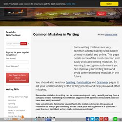 Common Mistakes in Writing