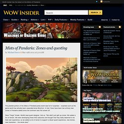 Mists of Pandaria: Zones and questing