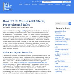 How Not To Misuse ARIA States, Properties and Roles - SSB BART Group