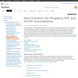 Microsoft Best Practices for Mitigating RPC and DCOM Vulnerabilities