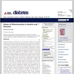 Roles of Mitochondria in Health and Disease