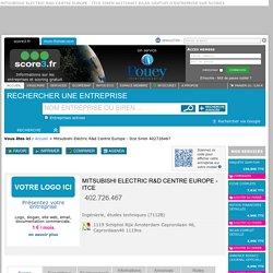 Mitsubishi Electric R&d Centre Europe - Itce Siren 402726467 bilan gratuit d'entreprise sur Score3