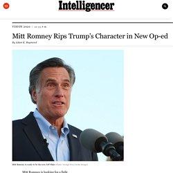 Mitt Romney Rips Trump's Character in New Op-ed
