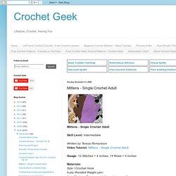 Mittens - Single Crochet Adult