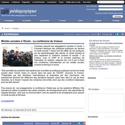 Mixités sociales à l'Ecole : La conférence du Cnesco