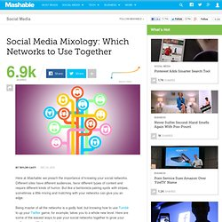 Social Media Mixology: Which Networks to Use Together