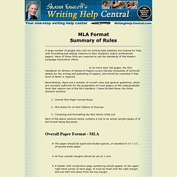 MLA format style... Summary of MLA format rules.