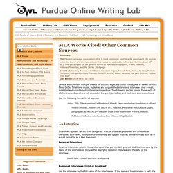 MLA Formatting and Style Guide-other sources