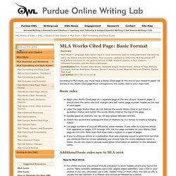 Formatting Works Cited Page