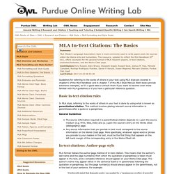 MLA In-Text Citation Guide