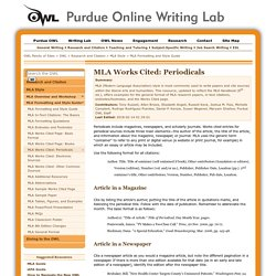 MLA Formatting and Style Guide