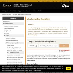 MLA Formatting Quotations