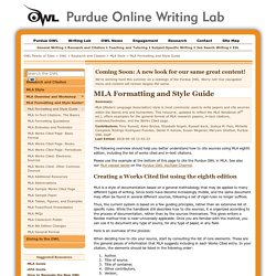 OWL MLA Formatting and Style Guide