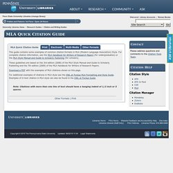 MLA Quick Citation Guide