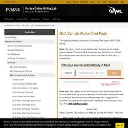 MLA Sample Works Cited Page