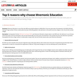 Top 5 reasons why choose Mnemonic Education - LetsTryUs Articles