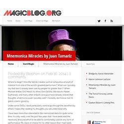 Mnemonica Miracles by Juan Tamariz - Magic Blog