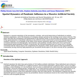 Phillip Stroud, Sara Del Valle, Stephen Sydoriak, Jane Riese and Susan Mniszewski: Spatial Dynamics of Pandemic Influenza in a Massive Artificial Society