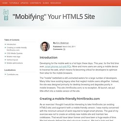 "HTML5 Rocks - ""Mobifying"" Your HTML5 Site"