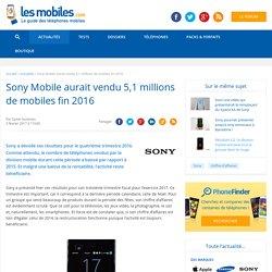 Sony Mobile aurait vendu 5,1 millions de mobiles fin 2016