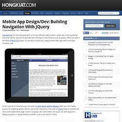 Mobile App Design/Dev: Building Navigation with jQuery