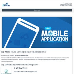 Top Mobile App Development Companies 2016 - IT Firms
