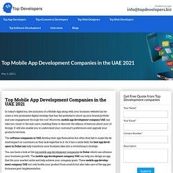 Top Mobile App Development Companies In UAE 2021