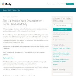 Top 11 Mobile Web Development Tools Used at Mobify | Mobify