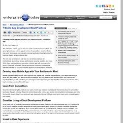 7 Mobile App Development Best Practices