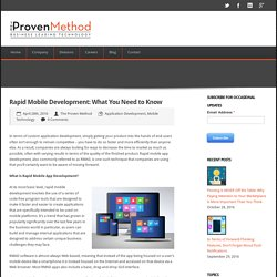Rapid Mobile Development: What You Need to Know - The Proven Method